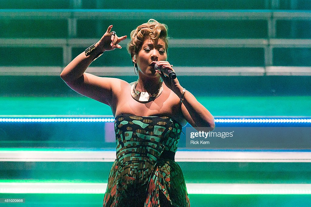 Vocalist Tessanne Chin performs on stage during 'The Voice' Tour at the Majestic Theatre on June 21 2014 in San Antonio Texas