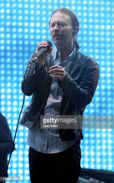 Vocalist Thom Yorke of Radiohead performs at Day 2 during the Bonnaroo Music and Arts Festival on June 8 2012 in Manchester Tennessee