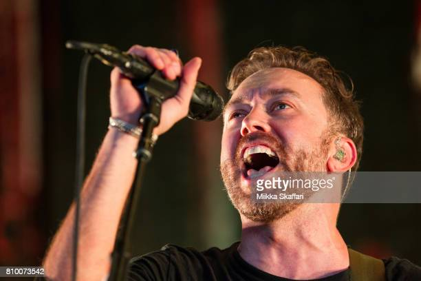 Vocalist Tim McIlrath of Rise Against performs at Concord Pavilion on July 6 2017 in Concord California