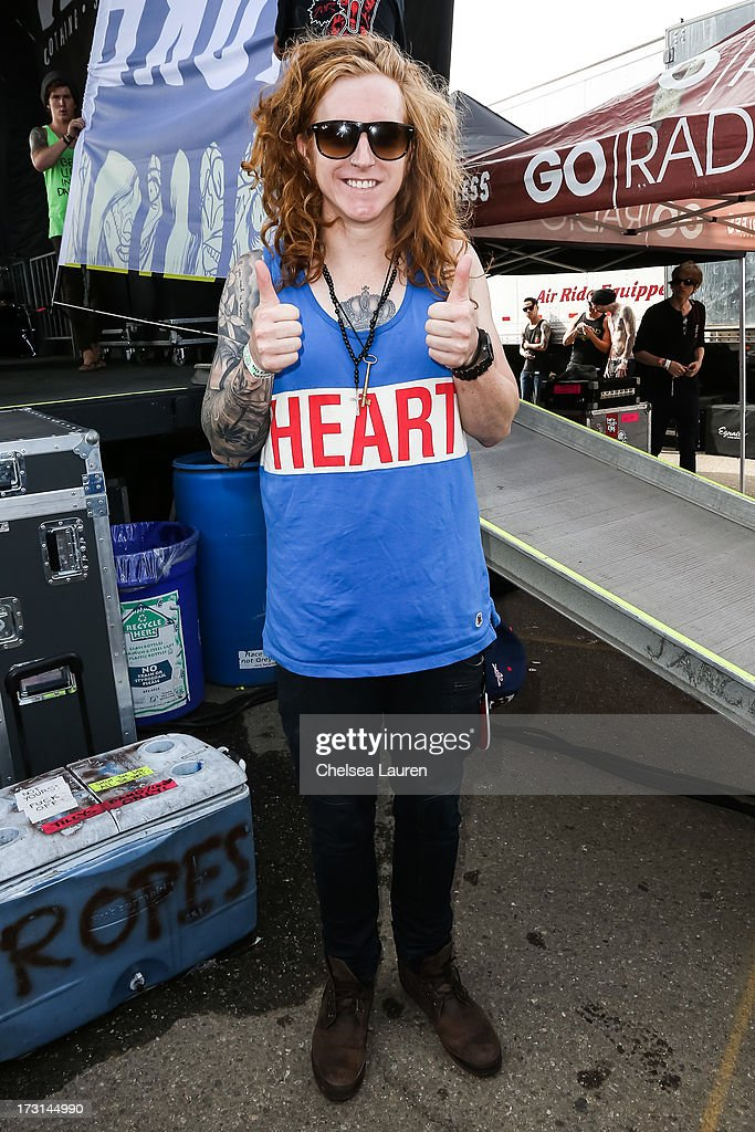 Vocalist Travis Clark of We The Kings backstage at the Vans Warped Tour on June 23, 2013 in Ventura, California.