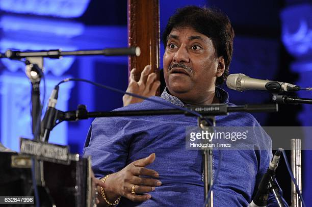 Vocalist Ustad Rashid Khan performs at 65th Dover Lane Music Conference at Nazrul Mancha on January 26 2017 in Kolkata India The fourday music...