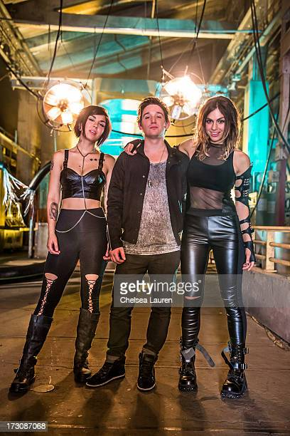 Vocalist Yasmine Yousaf producer Kris 'Rain Man' Trindl and vocalist Jahan Yousaf of Krewella pose during the 'Live For The Night' music video shoot...