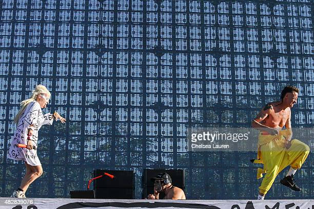 Vocalist Yolandi Visser DJ HiTek and vocalist Ninja of Die Antwoord perform during Hard Summer Music Festival at Fairplex on August 2 2015 in Pomona...