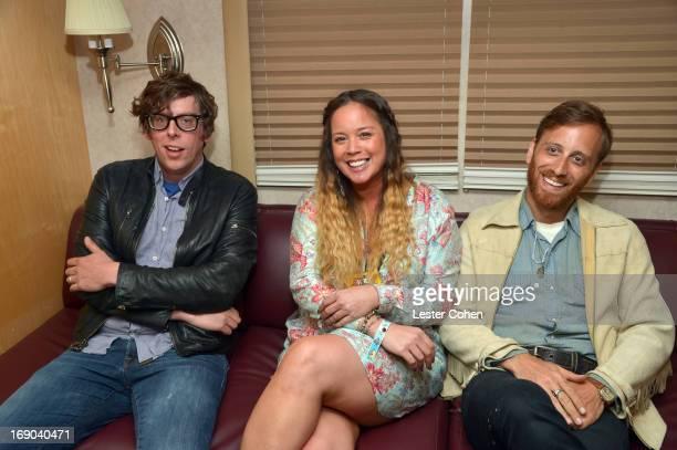 Vocalist/drummer Patrick Carney and vocalist/guitarist Dan Auerbach of The Black Keys backstage with DJ Nicole at KROQ Weenie Roast Y Fiesta at...