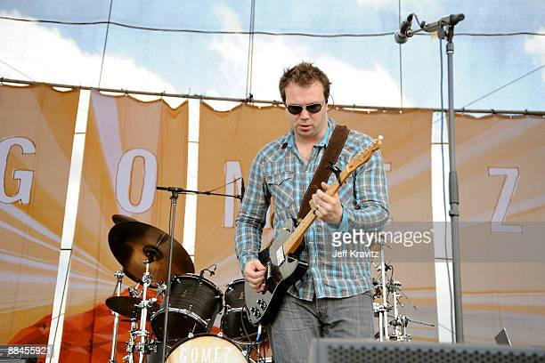 Vocalistguitarist Ben Ottewell of Gomez performs on stage during Bonnaroo 2009 on June 12 2009 in Manchester Tennessee