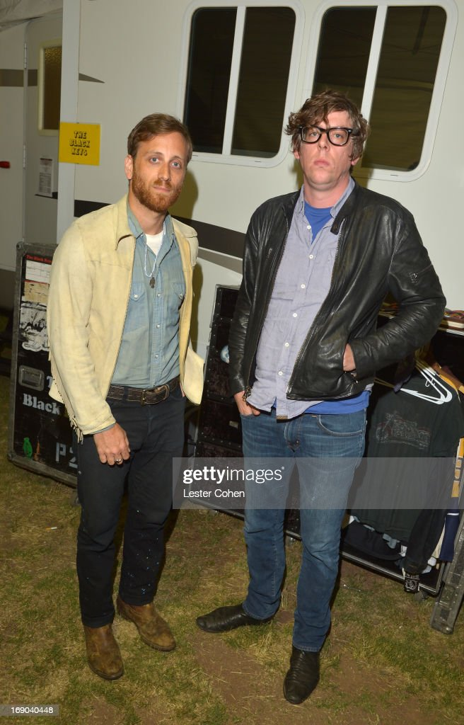 Vocalist/guitarist <a gi-track='captionPersonalityLinkClicked' href=/galleries/search?phrase=Dan+Auerbach&family=editorial&specificpeople=2233949 ng-click='$event.stopPropagation()'>Dan Auerbach</a> and vocalist/drummer <a gi-track='captionPersonalityLinkClicked' href=/galleries/search?phrase=Patrick+Carney&family=editorial&specificpeople=2234034 ng-click='$event.stopPropagation()'>Patrick Carney</a> of The Black Keys backstage at KROQ Weenie Roast Y Fiesta at Verizon Wireless Amphitheater on May 18, 2013 in Irvine, California.
