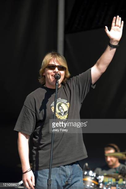 Vocalist/Guitarist Dexter Holland of The Offspring performs during the 2008 Virgin Mobile Festival at Pimlico Race Course on August 9 2008 in...