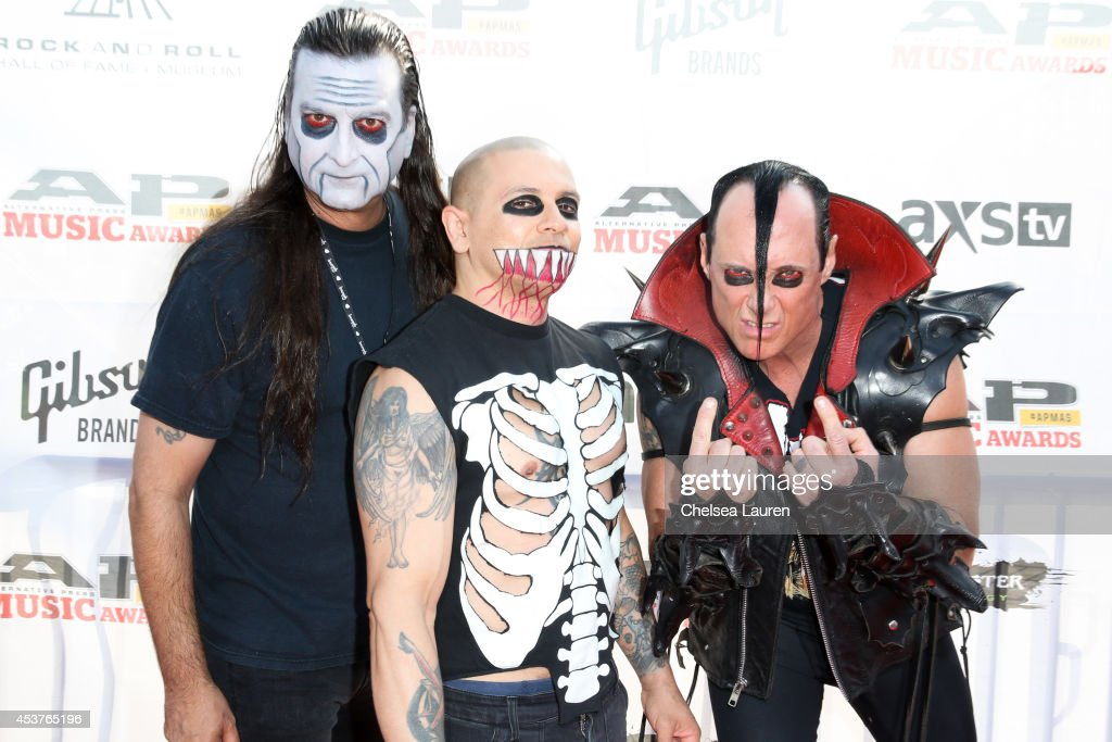 Vocalist/guitarist Dez Cadena, drummer Eric 'Chupacabra' Arce and bassist Jerry Only of The Misfits attend the 2014 Gibson Brands AP Music Awards at the Rock and Roll Hall of Fame and Museum on July 21, 2014 in Cleveland, Ohio.