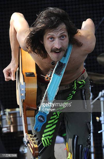 Vocalist/Guitarist Eugene Hutz of Gogol Bordello performs during day 2 of the 2011 Coachella Music Festival at The Empire Polo Club on April 16 2011...