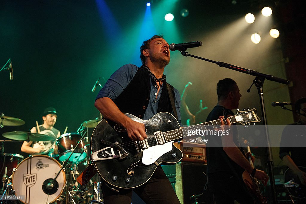 Vocalist/Guitarist <a gi-track='captionPersonalityLinkClicked' href=/galleries/search?phrase=Mikel+Jollett&family=editorial&specificpeople=2249340 ng-click='$event.stopPropagation()'>Mikel Jollett</a> of The Airborne Toxic Event performs onstage at The Vogue on June 14, 2013 in Indianapolis, Indiana.