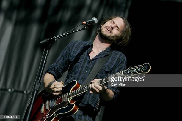 Vocalist/musician Brian Aubert performs with Silversun Pickups during the second day of the Austin City Limits music Festival at Zilker Park on...