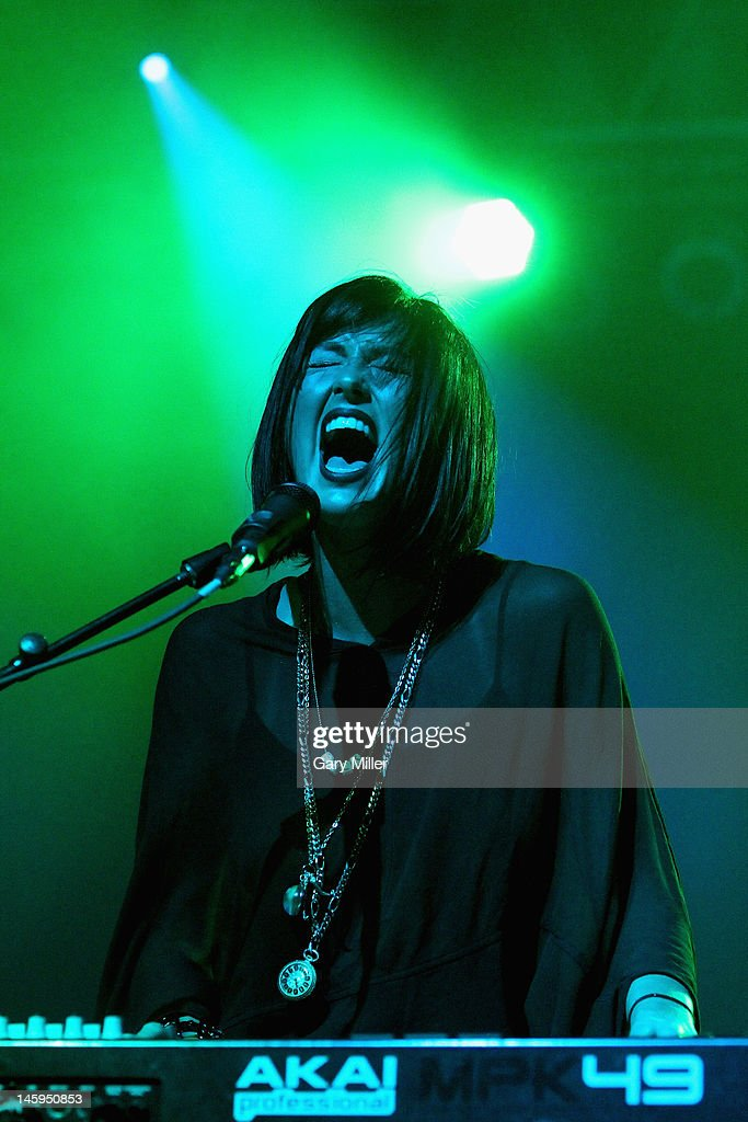 Vocalist/musician Sarah Barthel of Phantogram performs in concert during the Bonnaroo Music and Arts Festival on June 7 2012 in Manchester Tennessee