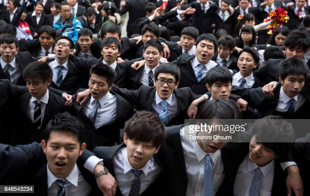 Vocational school students sing a song during a rally to kick off jobhunting on March 1 2017 in Tokyo Japan About 1500 students from 11 schools...