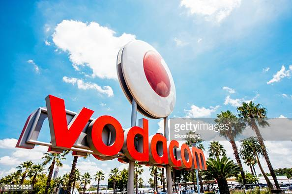 A Vodacom logo sits on display outside the Vodacom World mall operated by Vodacom Group Ltd in the Midrand district of Johannesburg South Africa on...