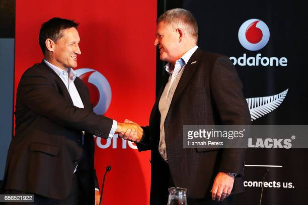 Vodafone Chief Executive Russell Stanners shakes hands with New Zealand Rugby CEO Steve Tew during a New Zealand All Blacks sponsorship Announcement...