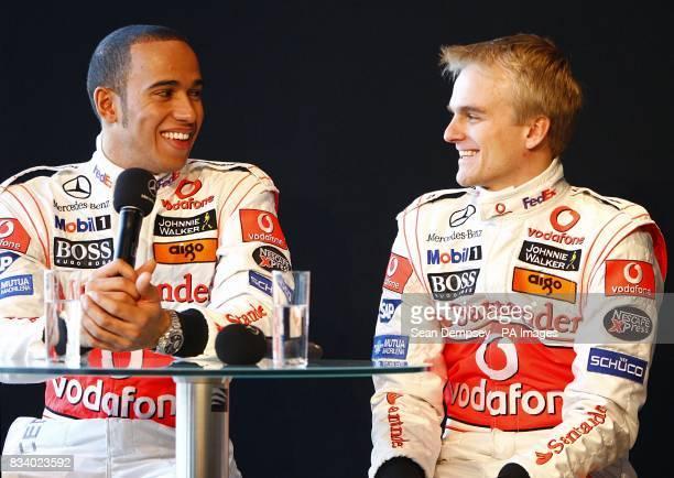 Vodafone McLaren Mercedes driver Lewis Hamilton and team mate Heikki Kovalainen during the launch of the Vodafone McLaren Mercedes MP423 at the...