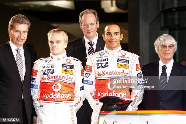 Vodafone McLaren Mercedes driver Lewis Hamilton with team mate Heikki Kovalainen and President and CEO of Formula One Bernie Ecclestone during the...