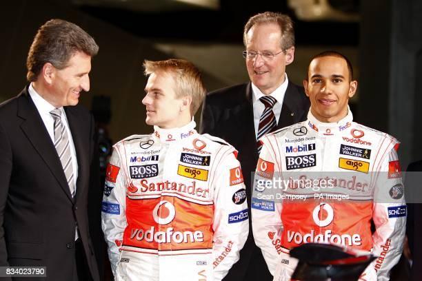 Vodafone McLaren Mercedes driver Lewis Hamilton with team mate Heikki Kovalainen during the launch of the Vodafone McLaren Mercedes MP423 at the...