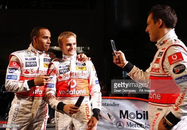 Vodafone McLaren Mercedes drivers from left Lewis Hamilton Heikki Kovalainen and Gary Paffet during the launch of the Vodafone McLaren Mercedes MP423...