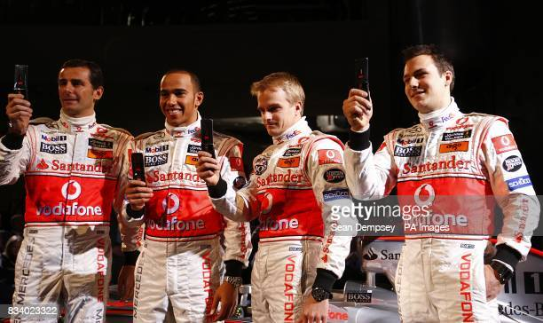 Vodafone McLaren Mercedes drivers from left Pedro de la Rosa Lewis Hamilton Heikki Kovalainen and Gary Paffet during the launch of the Vodafone...