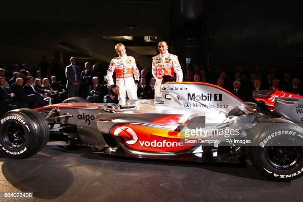 Vodafone McLaren Mercedes drivers Lewis Hamilton and Heikki Kovalainen during the launch of the Vodafone McLaren Mercedes MP423 at the MercedesBenz...