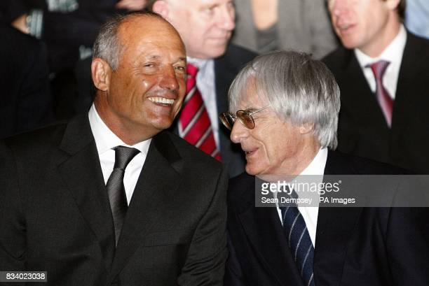 Vodafone McLaren Mercedes manager Ron Dennis with President and CEO of Formula One Bernie Ecclestone during the launch of the Vodafone McLaren...