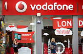 A Vodafone store is pictured in central London on July 22 2016 British telecoms giant Vodafone reported better than expected group service revenues...