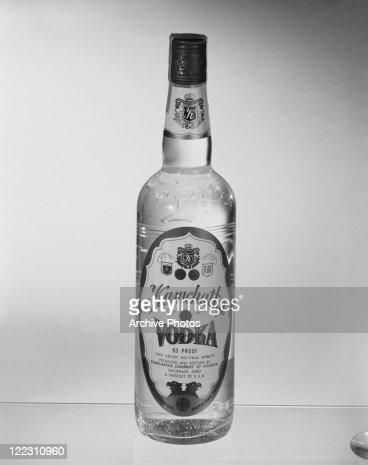 Vodka bottle against white background, close-up