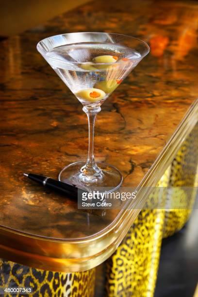 Vodka drink on retro countertop