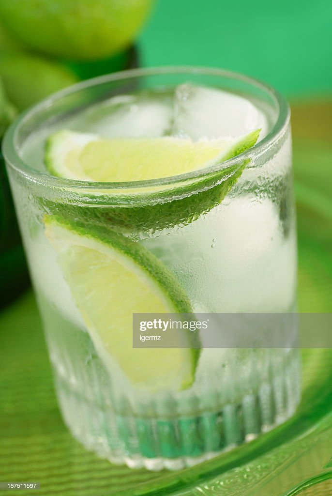Vodka Lime Ice in Glass : Stock Photo
