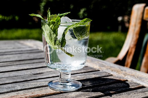 wodka oder gin tonic cocktail mit limette minze und eis im garten stock foto thinkstock. Black Bedroom Furniture Sets. Home Design Ideas