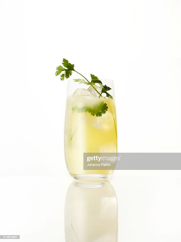 Vodka pear ginger and coriander cocktail stock photo for Pear vodka mixed drinks