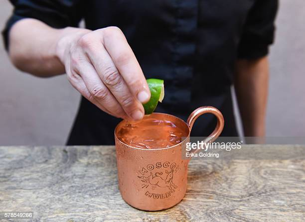SMIRNOFF vodka teaches invited guests how to create an original Moscow Mule with SMIRNOFF No 21 vodka Cockn Bull® Ginger Beer and a squeeze of limee...