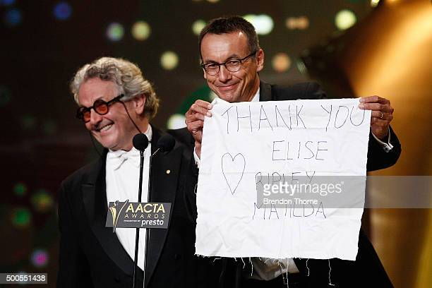 Voeten and George Miller win the AACTA Award for Best Film Presented by Presto for Mad Max Fury Road during the 5th AACTA Awards Presented by Presto...
