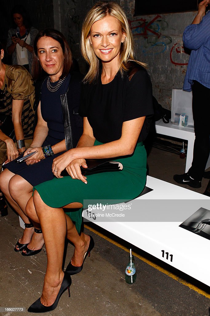 Vogue Australia editor Edwina McCann (L) and Sarah Murdoch attend the Alex Perry show during Mercedes-Benz Fashion Week Australia Spring/Summer 2013/14 at Carriageworks on April 8, 2013 in Sydney, Australia.