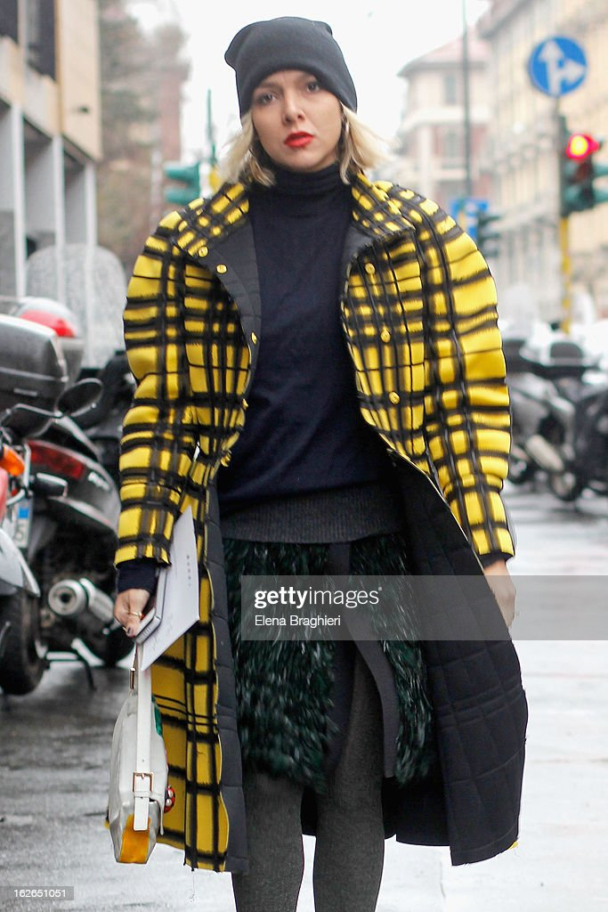 Vogue Brasil fashion editor Yasmine Sterea attends the Milan Fashion Week Womenswear Fall/Winter 2013/14 on February 25, 2013 in Milan, Italy.