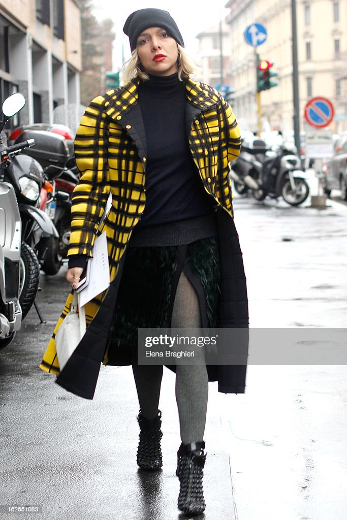 Vogue Brasil fashion editor Yasmine Sterea attends the Milan Fashion Week Womenswear Fall/Winter 2013/14 on February 25, 2013 in Milan, Italy.
