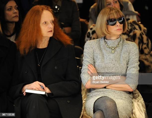 Vogue creative director Grace Coddington and Editorinchief of American Vogue Anna Wintour attend the Zac Posen Fall 2010 Fashion Show during...