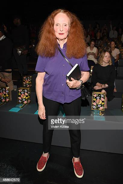 Vogue creative director Grace Coddington attends Anna Sui Spring 2016 during New York Fashion Week The Shows at The Arc Skylight at Moynihan Station...