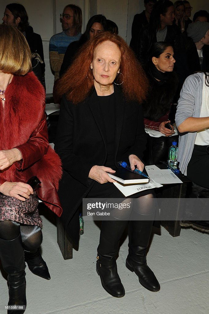 Vogue Creative Director <a gi-track='captionPersonalityLinkClicked' href=/galleries/search?phrase=Grace+Coddington&family=editorial&specificpeople=1706831 ng-click='$event.stopPropagation()'>Grace Coddington</a> attends the Rodarte Fall 2013 fashion show during Mercedes-Benz Fashion Week at 548 West 22nd Street on February 12, 2013 in New York City.