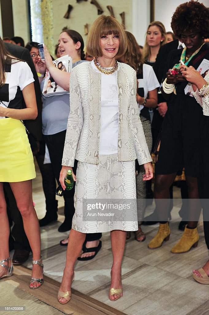 Vogue ediitor-in-chief Anna Wintour appears for Fashion's Night Out at Saks Fifth Avenue on September 6, 2012 in New York City.