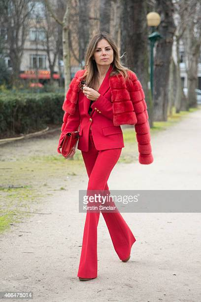 Vogue editor and creative director of Louis Leeman Erica Pelosini wears all Pucci on day 7 of Paris Collections Women on March 09 2015 in Paris France