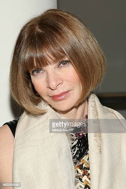 Vogue Editor Anna Wintour attends Wes Gordon runway show during MADE Fashion Week Fall 2015 at Milk Studios on February 13 2015 in New York City