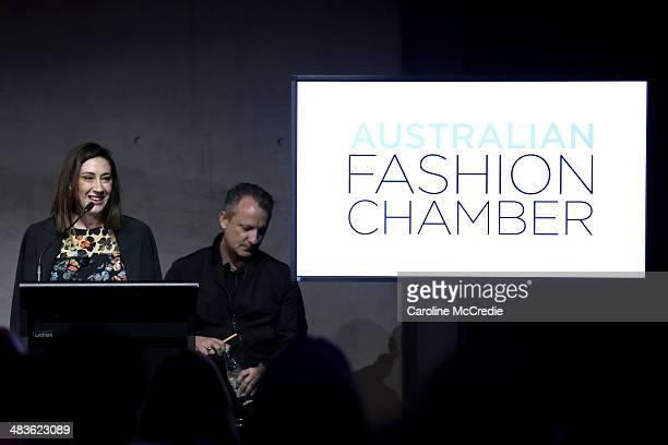Vogue Editor Edwina McCann speaks at the Australian Fashion Chamber seminar during MercedesBenz Fashion Week Australia 2014 at Carriageworks on April...