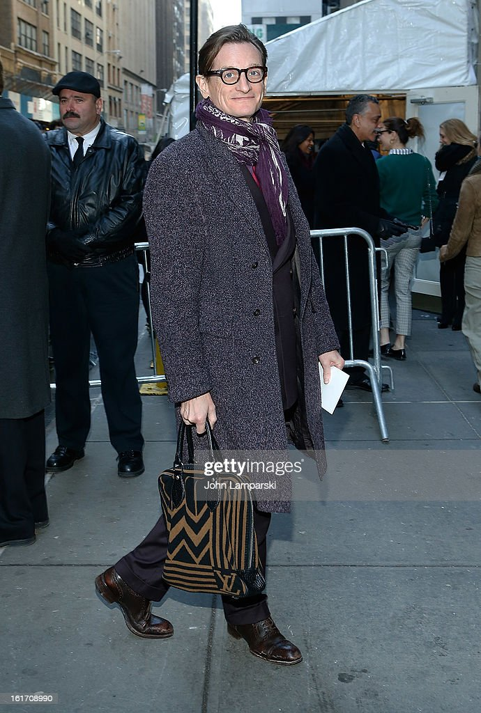 Vogue Editor <a gi-track='captionPersonalityLinkClicked' href=/galleries/search?phrase=Hamish+Bowles&family=editorial&specificpeople=217532 ng-click='$event.stopPropagation()'>Hamish Bowles</a> attends Calvin Klein Collection during Fall 2013 Mercedes-Benz Fashion Week on February 14, 2013 in New York City.