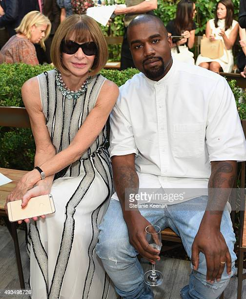 Vogue Editor in Chief Anna Wintour and recording artist Kanye West attend CFDA/Vogue Fashion Fund Show and Tea at Chateau Marmont on October 20 2015...