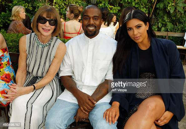 Vogue Editor in Chief Anna Wintour recording artist Kanye West and TV personality Kim Kardashian attend CFDA/Vogue Fashion Fund Show and Tea at...