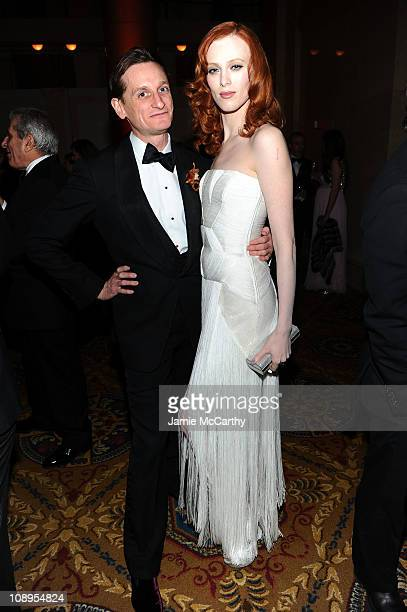 Vogue EditoratLarge Hamish Bowles and model/singer Karen Elson attend the amfAR New York Gala to kick off Fall 2011 Fashion Week at Cipriani Wall...