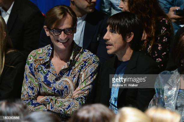 Vogue editoratlarge Hamish Bowles and musician Anthony Kiedis attend the Day 4 MercedesBenz Fashion Week Spring 2014 at Lincoln Center for the...