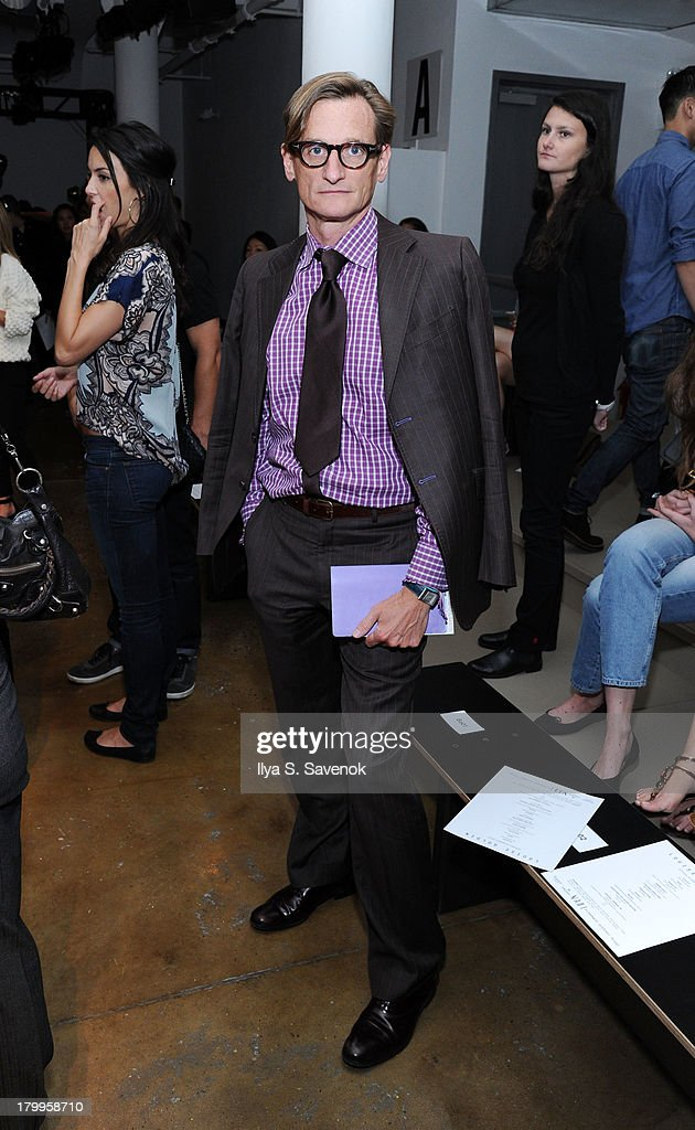 Vogue editor-at-large, <a gi-track='captionPersonalityLinkClicked' href=/galleries/search?phrase=Hamish+Bowles&family=editorial&specificpeople=217532 ng-click='$event.stopPropagation()'>Hamish Bowles</a> attends the Louise Goldin fashion show during MADE Fashion Week Spring 2014 at Milk Studios on September 7, 2013 in New York City.